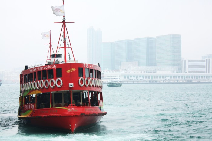 Red Ferry in a Hazy Day