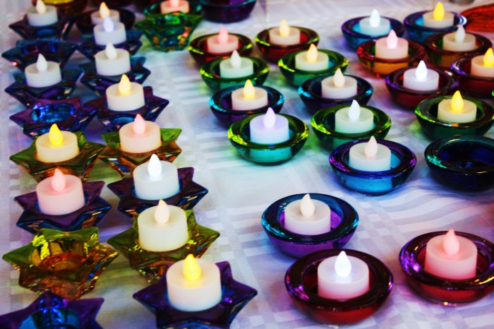 Colourful candle holders
