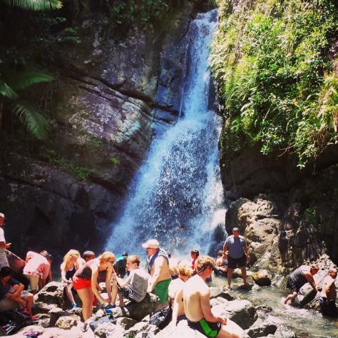Very busy at La Mina Falls