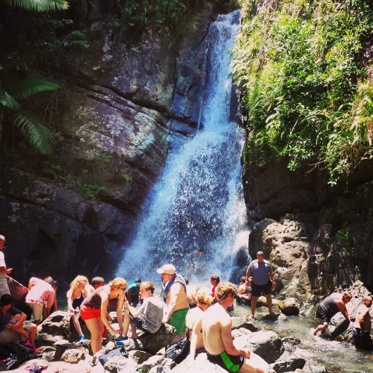 Very busy at La Mina Falls