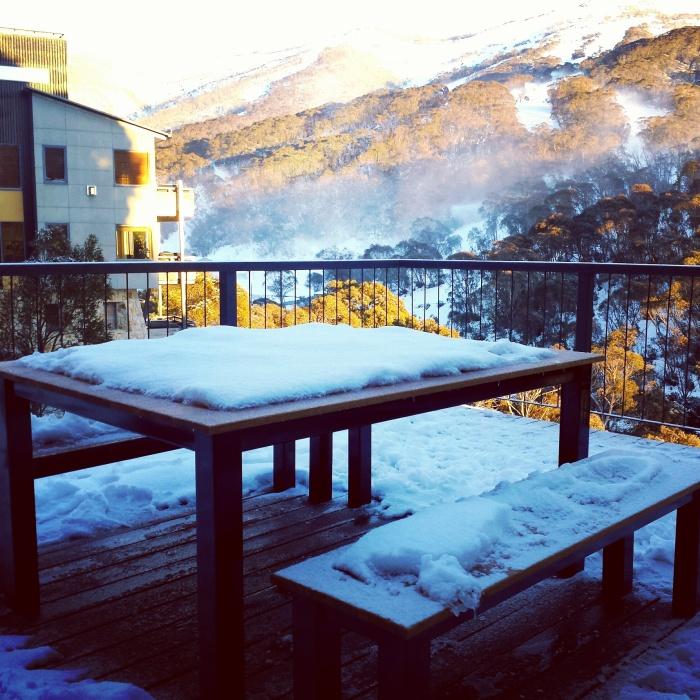 Fresh snow on our balcony