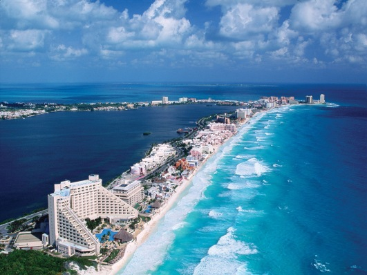 An aerial view of Hotel Zone of Cancun  (image from Google)